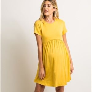 Yellow crochet trim maternity shift dress